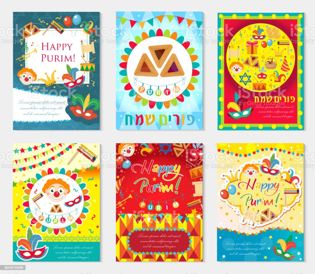 Purim Karneval Set Poster Einladung Flyer Sammlung Von Vorlagen Fur