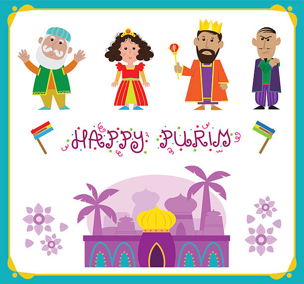 Purim Characters vector art illustration