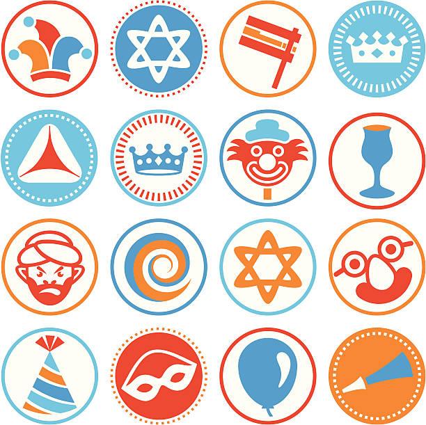 purim - circle icons / seals - purim stock illustrations, clip art, cartoons, & icons