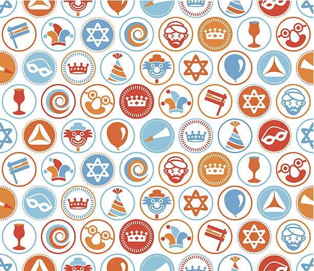 purim circles seamless pattern - purim stock illustrations, clip art, cartoons, & icons