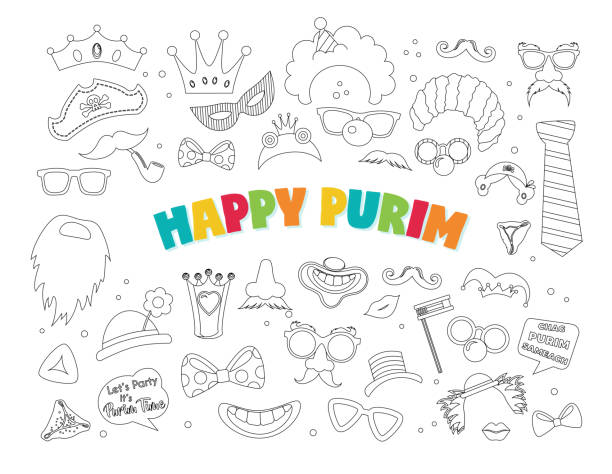 purim clipart with carnival elements. happy purim jewish festival, carnival, purim props icons. vector- happy purim greeting in hebrew - purim stock illustrations, clip art, cartoons, & icons
