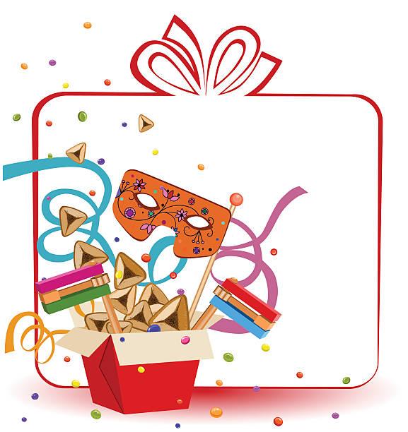 purim gift  box - purim stock illustrations, clip art, cartoons, & icons