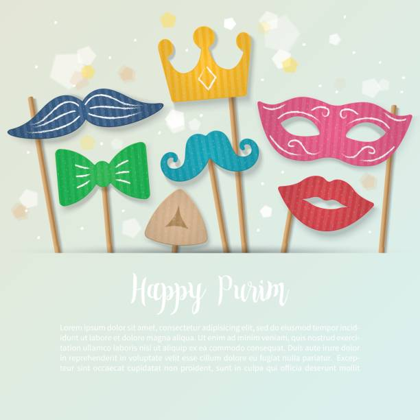 purim holiday banner design with carnival mask, mustache and crown. - purim stock illustrations, clip art, cartoons, & icons
