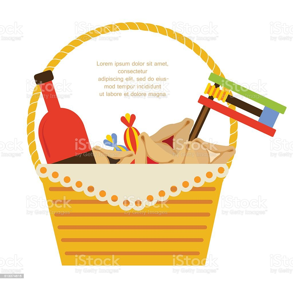 Purim holiday gifts with hamantaschen cookies and candy vector art illustration