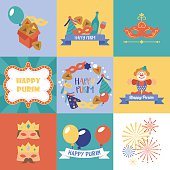 Purim holiday logo design and greeting card set.
