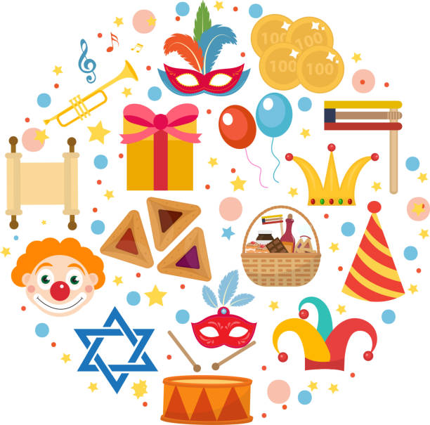 purim icons set in round shape, isolated on white background - purim stock illustrations, clip art, cartoons, & icons