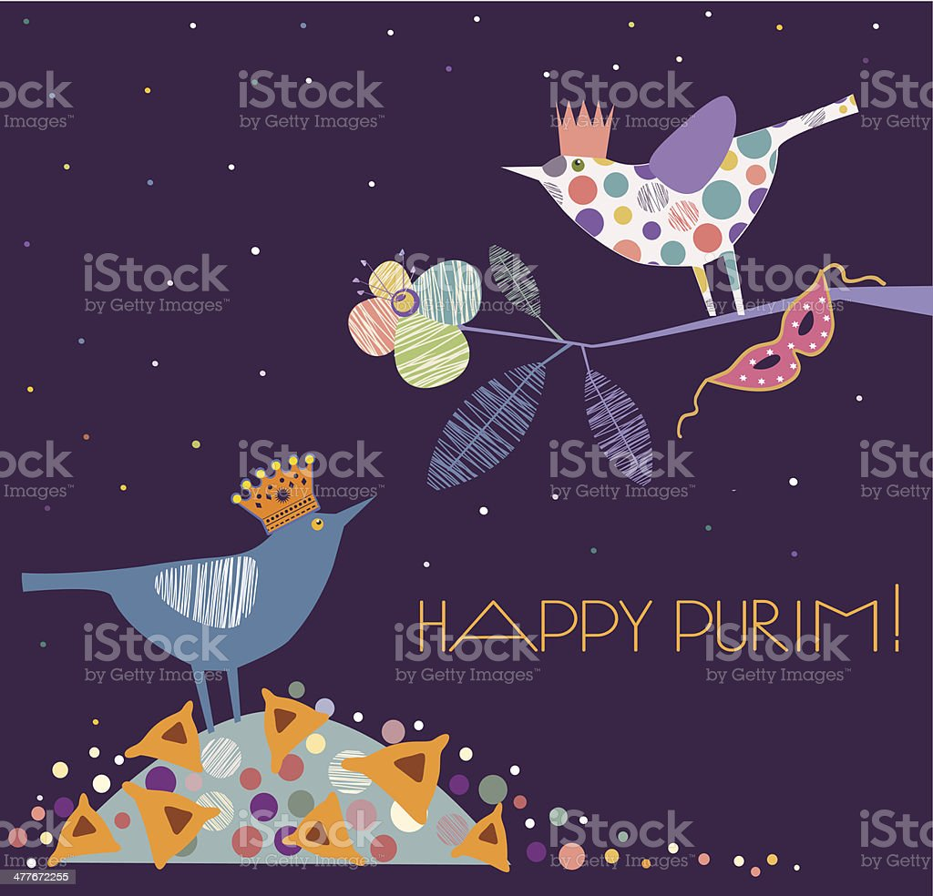Purim Illustration With Birds  And Hamantaschen royalty-free purim illustration with birds and hamantaschen stock vector art & more images of bird