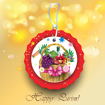 Purim Jewish Holiday Festival Party Basket with Gifts, Decoration, Sale Tag Card Vector