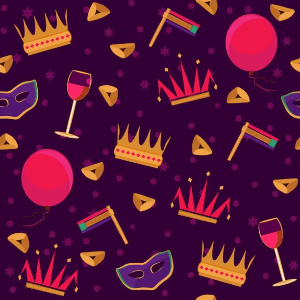 purim, jewish spring holiday seamless pattern. - purim stock illustrations, clip art, cartoons, & icons