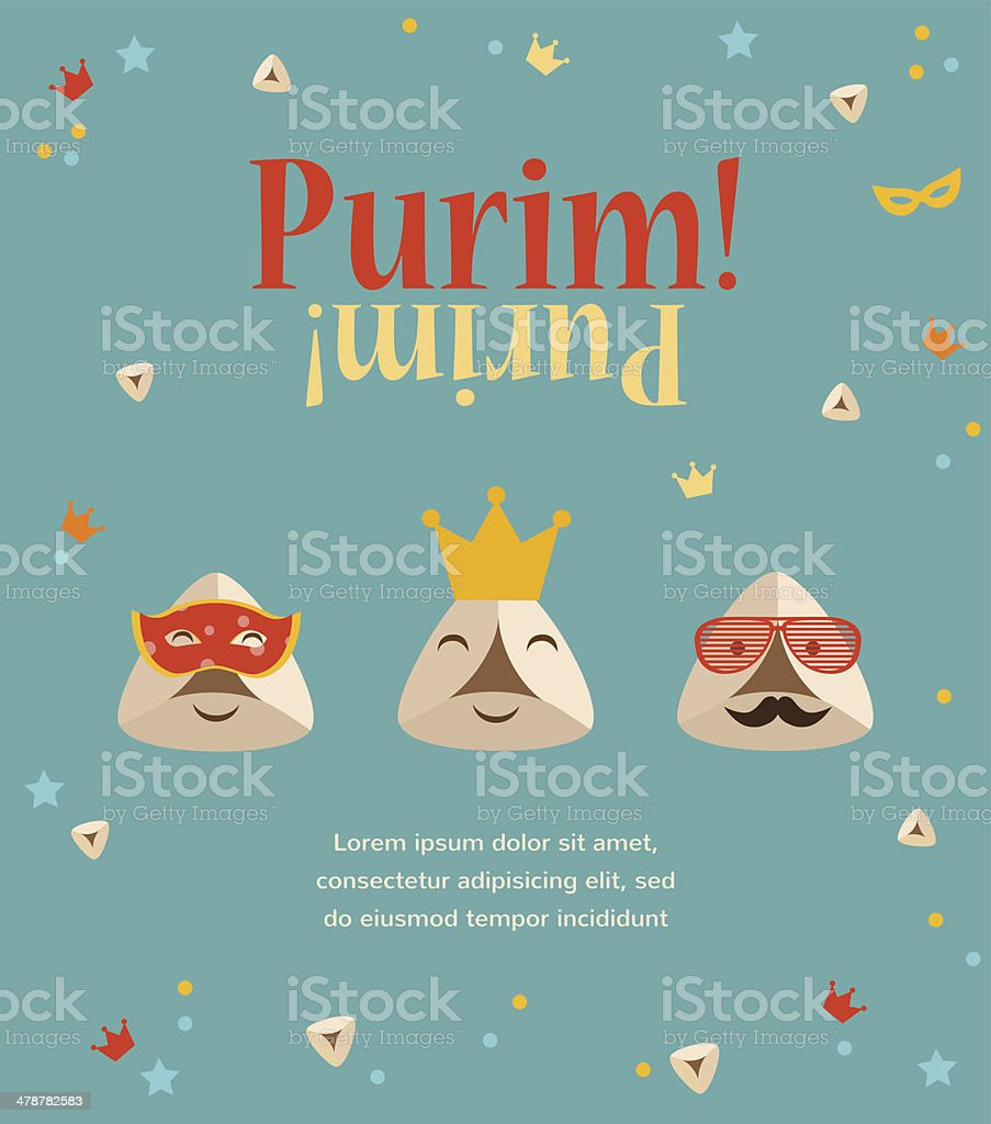 Purim party invitation with hipster Haman Ears vector art illustration