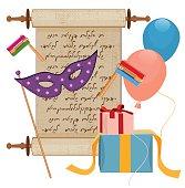 istock Purim, Rattle, Hamantaschen and Megillah 537210387