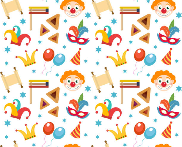 purim seamless pattern with carnival elements. happy  jewish festival, , endless - purim stock illustrations, clip art, cartoons, & icons
