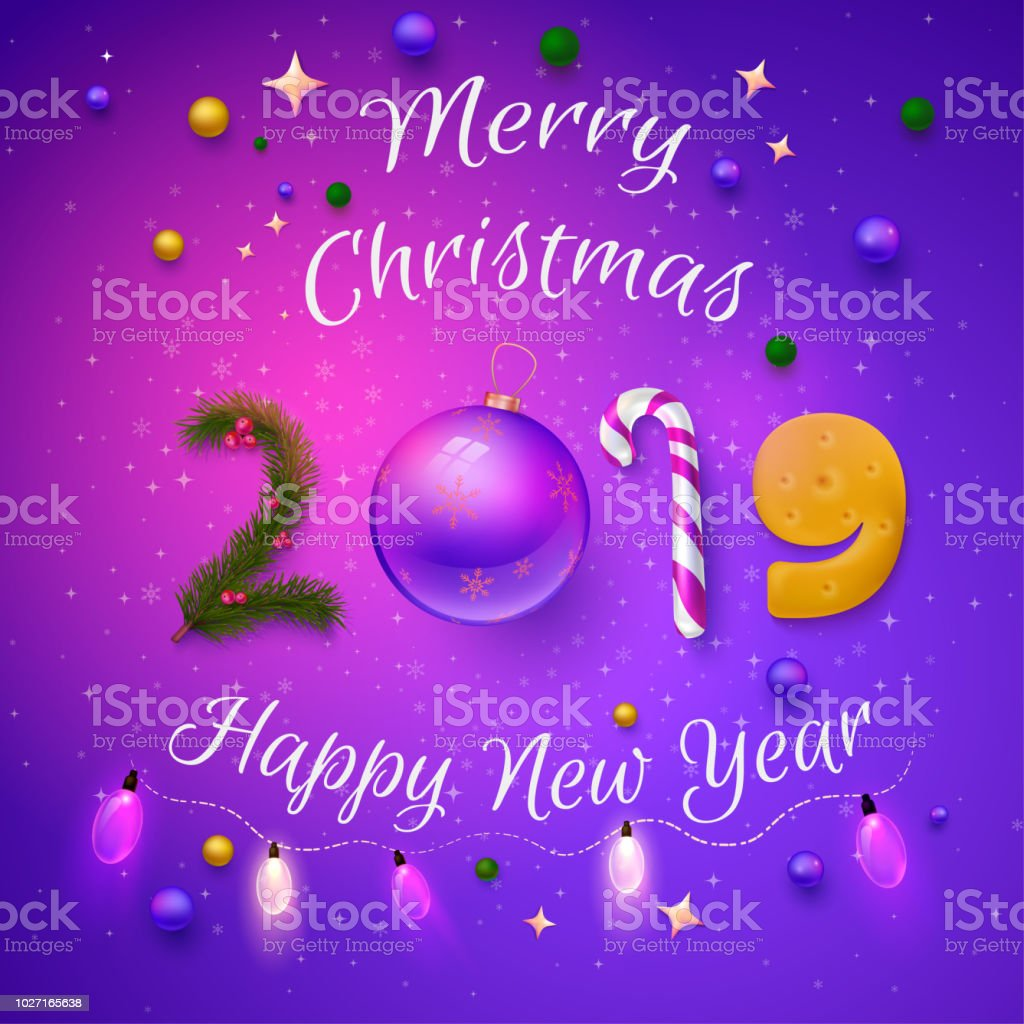 purple 2019 merry christmas and happy new year card royalty free purple 2019 merry