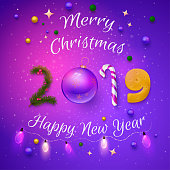 purple 2019 merry christmas and happy new year card