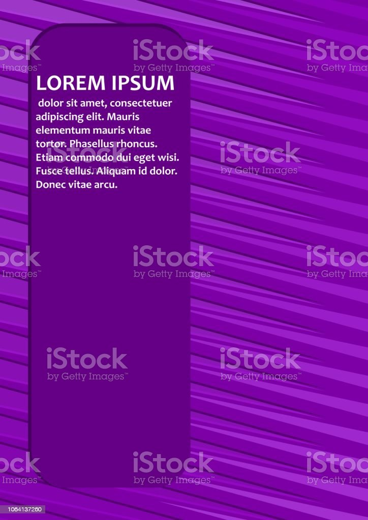 Purple abstract background with diagonal light strips and with field for own text. Sample message in white letters. Book cover, scrapbook, leaflet, flyer template in trendy violet vector art illustration