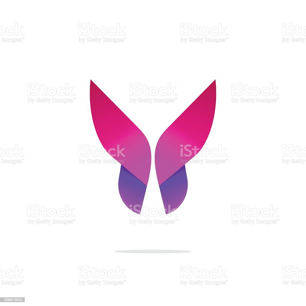 Purple abstract gradient butterfly logo template