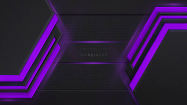Lila und schwarz Kontrast abstrakte Technologie Hintergrund. Lila Hintergrundbeleuchtung. Layout Design Tech. Vector Corporate Design. – Vektorgrafik