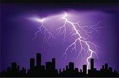 Lightning or thunder at night sky