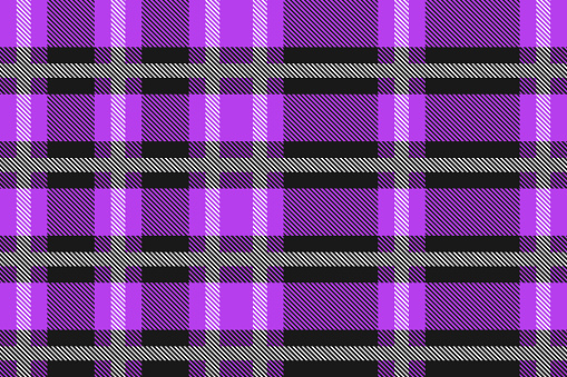 Purple and black Scotland textile seamless pattern. Fabric texture check tartan plaid. Abstract geometric background for cloth, card, fabric. Monochrome graphic repeating design. Modern squared ornament