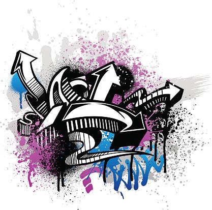Purple and blue graffiti street art with arrows