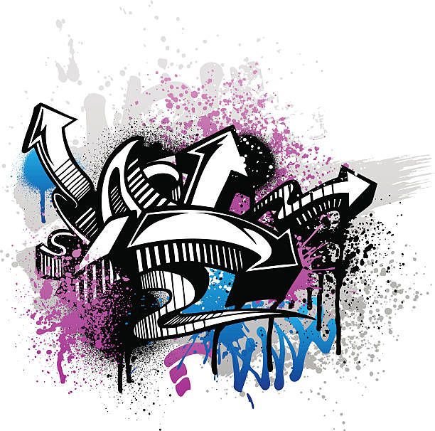 Purple and blue graffiti street art with arrows Black graffiti sketch with blue and pink grunge paint splatter. graffiti background stock illustrations