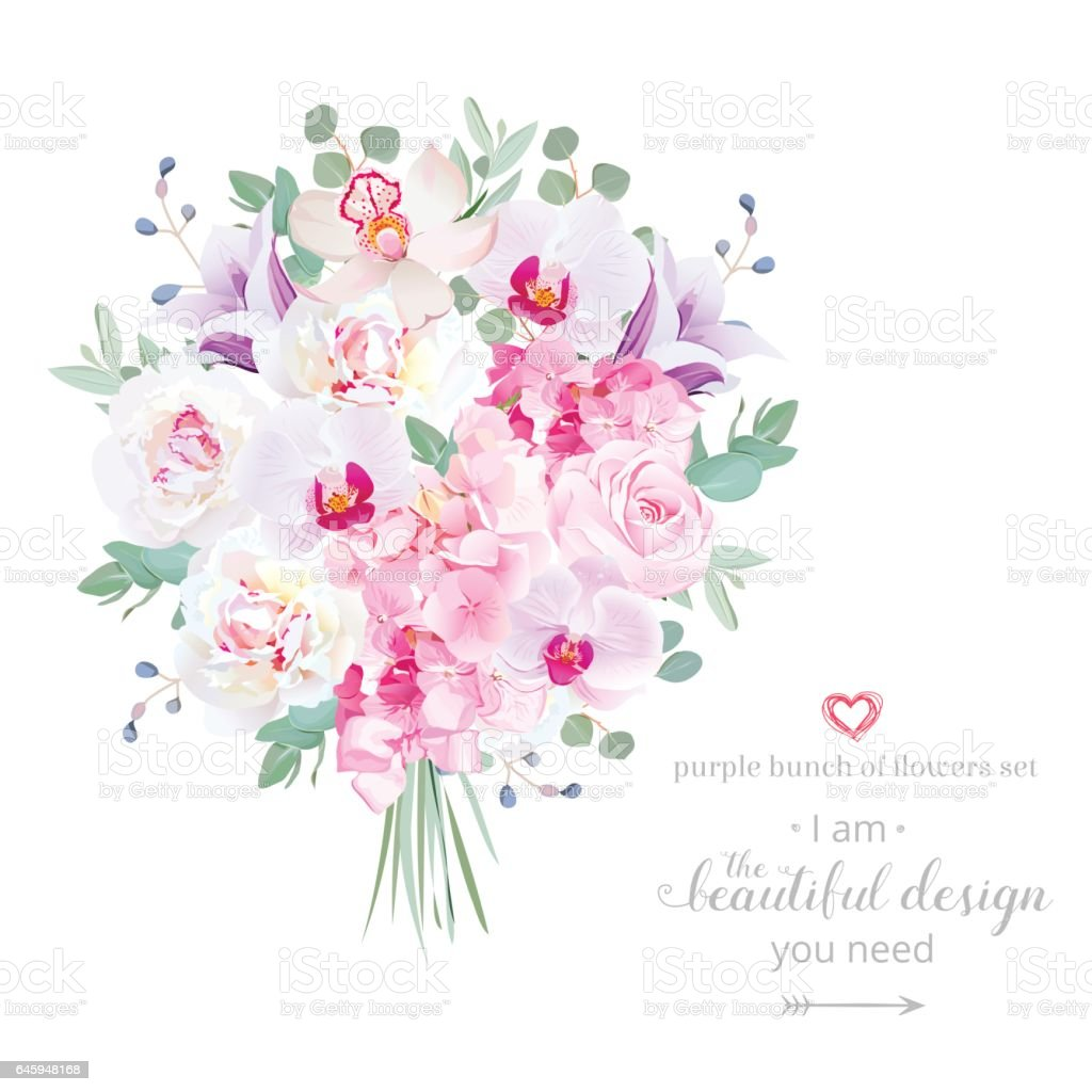 Purple and pink flowers bouquet vector design set stock vector art purple and pink flowers bouquet vector design set royalty free purple and pink flowers bouquet izmirmasajfo