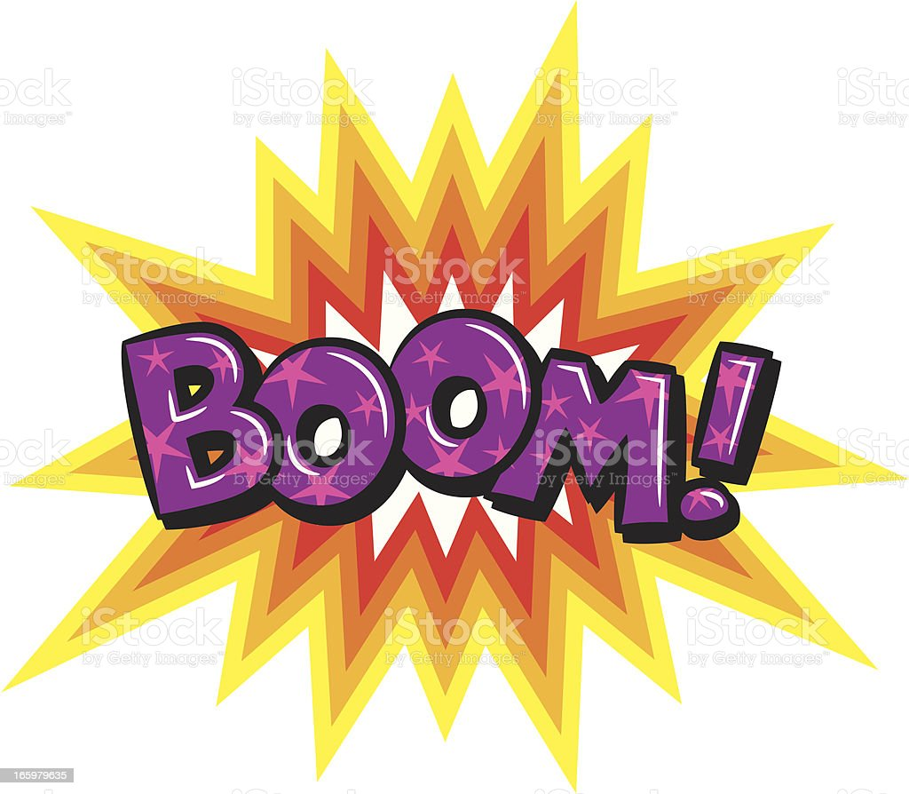 Purple and pink starred Boom with explosion behind it vector art illustration