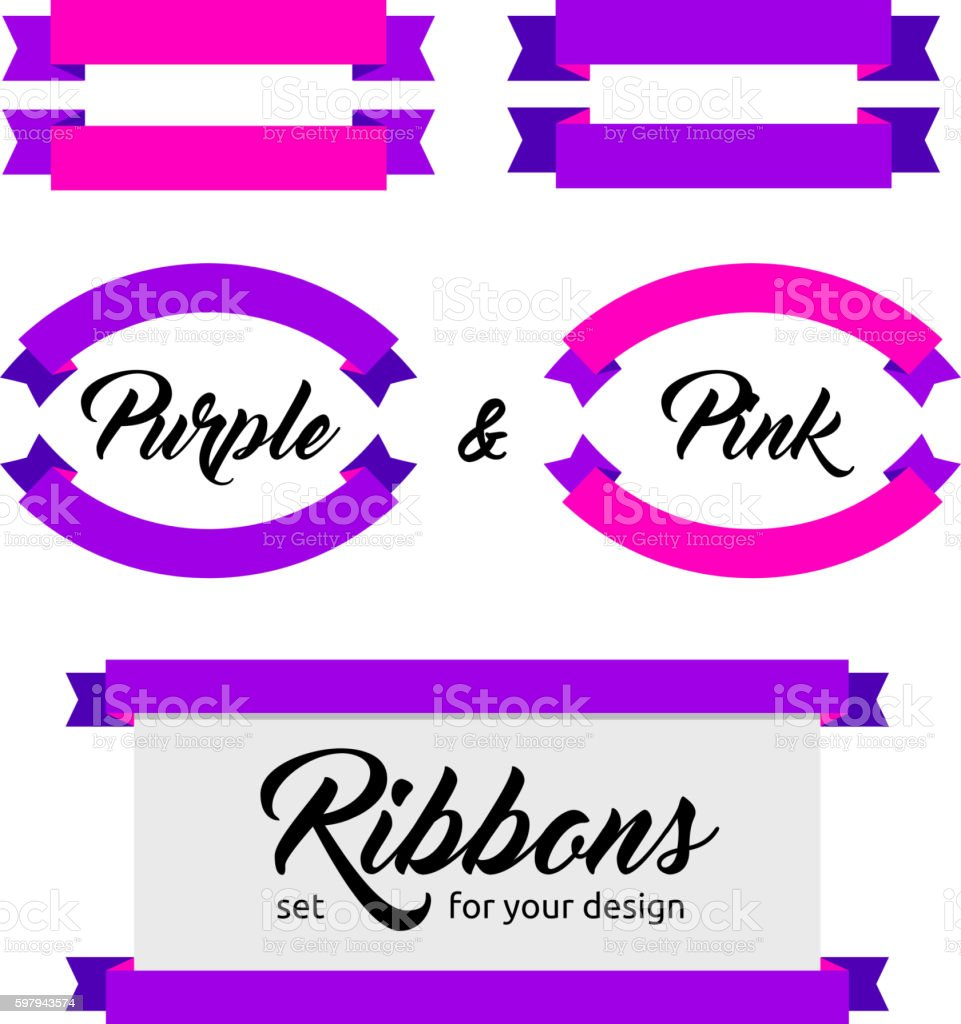 Purple and pink vector ribbons and banners set. Flat style. ilustração de purple and pink vector ribbons and banners set flat style e mais banco de imagens de abstrato royalty-free