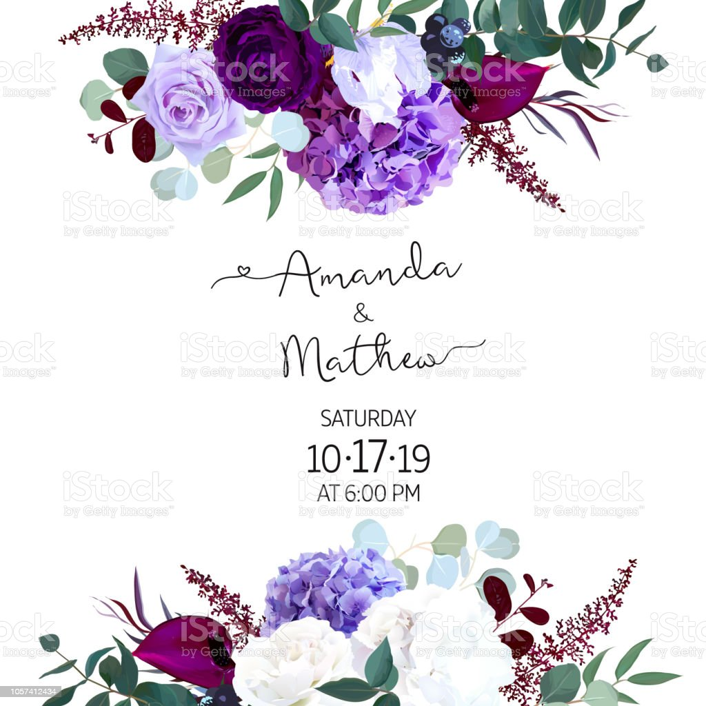 Purple and violet rose, white and deep blue hyrangea, astilbe, anthurium, iris, eucaliptus. royalty-free purple and violet rose white and deep blue hyrangea astilbe anthurium iris eucaliptus stock illustration - download image now