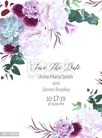 Purple and white flowers wedding design vector card. Hydrangea, echeveria succulent, violet carnation, bellflower, dark plum orchid. Autumn style greenery frame. All elements are isolated and editable