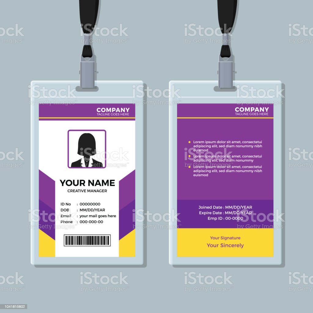 purple and yellow id card template royalty free purple and yellow id card template stock