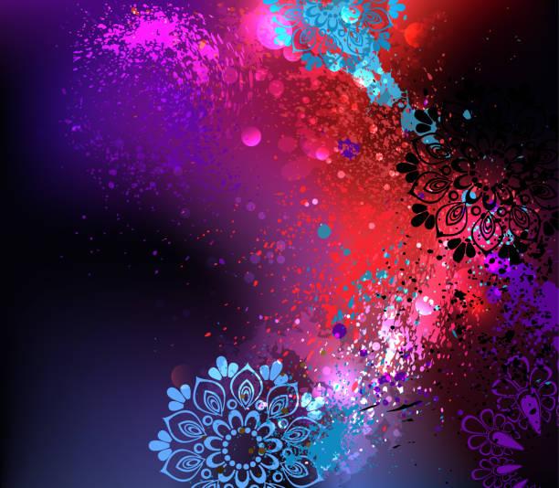 stockillustraties, clipart, cartoons en iconen met paarse achtergrond holi - bloemen storm
