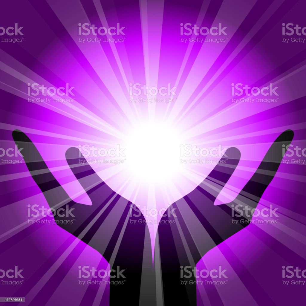 purple background with hands vector art illustration
