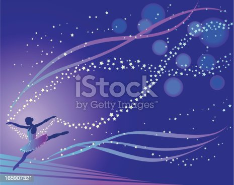 Silhouette of ballerina performing on stage followed by a star trail. High resolution JPG and Illustrator 0.8 EPS included.