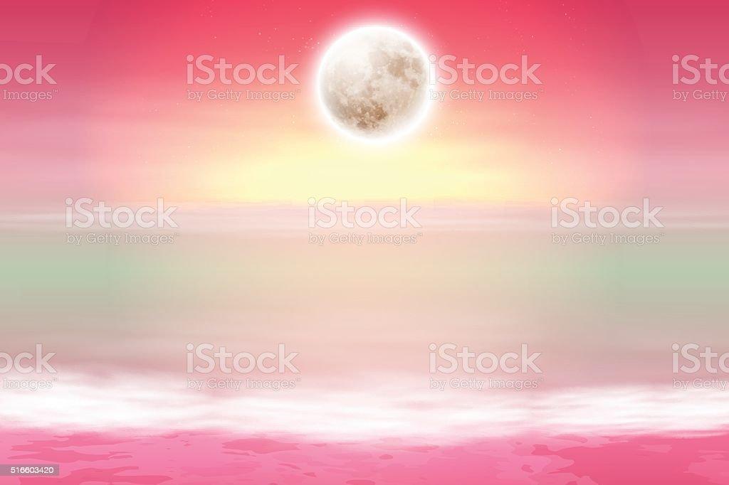 Purple beach with full moon at night vector art illustration