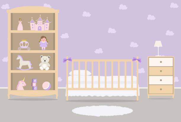 ilustrações de stock, clip art, desenhos animados e ícones de purple bedroom for a baby girl. kid's room for a newborn baby. interior - unicorn bed
