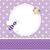 illustration of a bee, colorful flower, round label and ribbon on purple polka dot pattern background