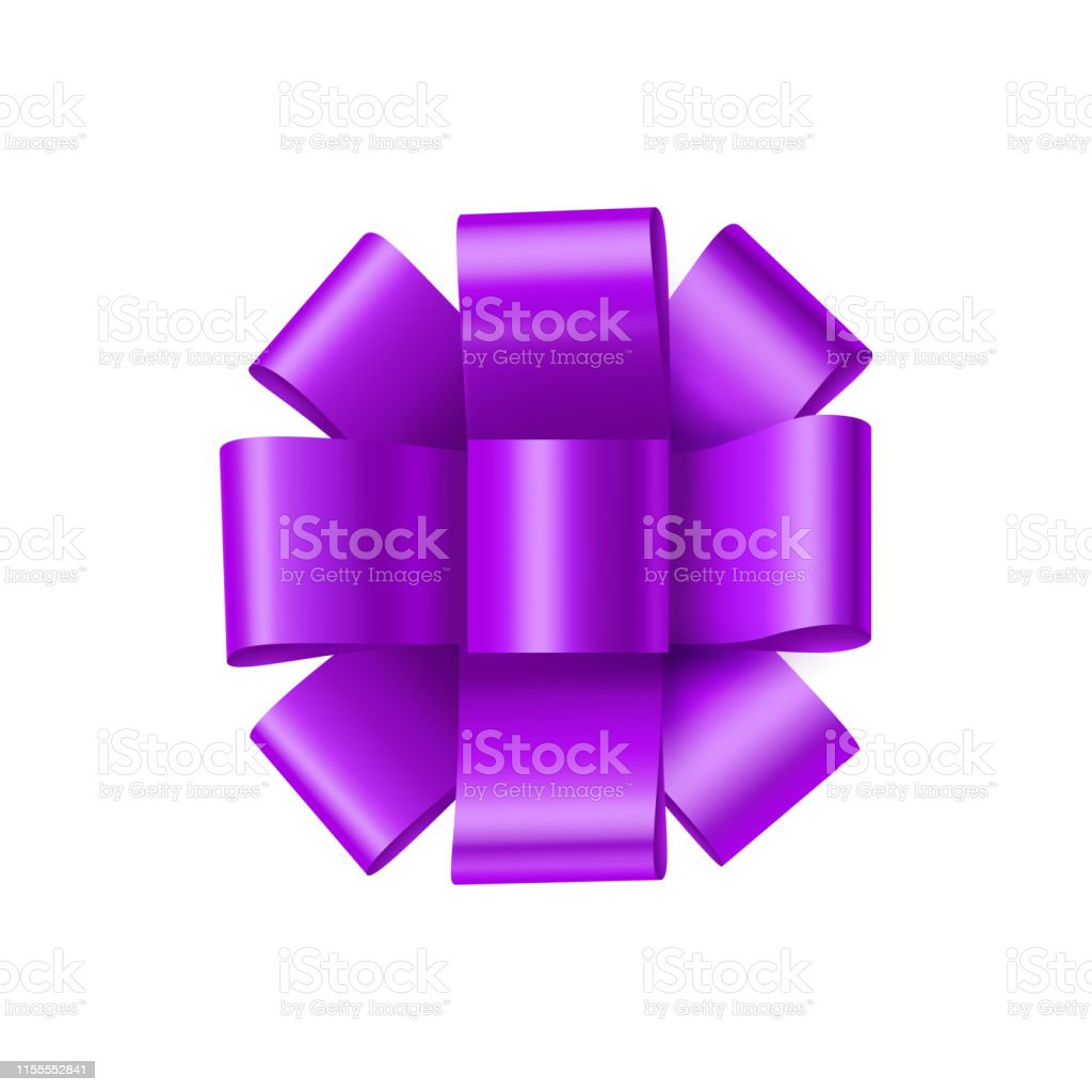 Purple bow from satin tape isolated on white background. Bright bow...