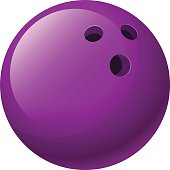 Vector illustration. Purple bowling ball isolated on a white background