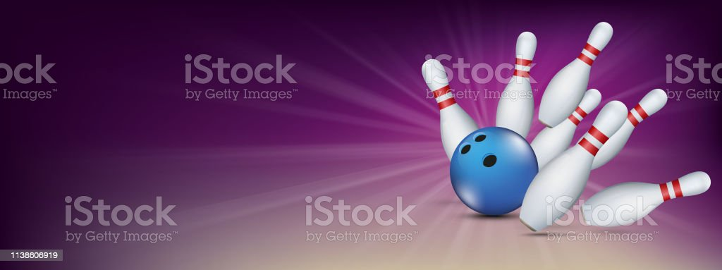 Purple bowling banner with blue ball and white pins. Eps 10 vector...