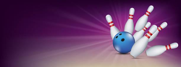 Purple Bowling Pin Deck Banner Blue Ball Strike Pins Purple bowling banner with blue ball and white pins. Eps 10 vector file. ten pin bowling stock illustrations