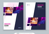 Purple Brochure Cover template layout design. Corporate business annual report, catalog, magazine, flyer mockup. Creative modern bright concept with square shapes.