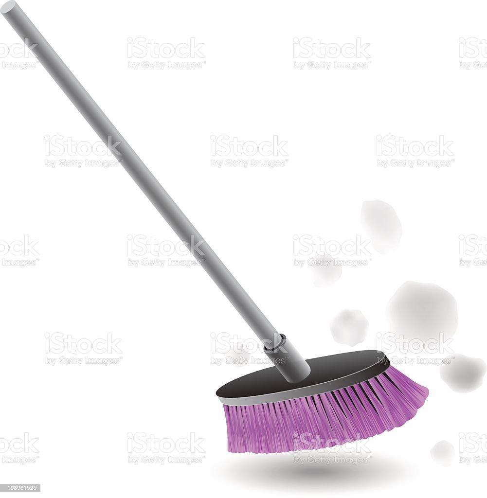 A purple broom sweeping up dust vector art illustration