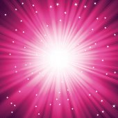 Purple burst of light with sparkles. EPS10 file with transparencies. Sparkles are on separate layer.