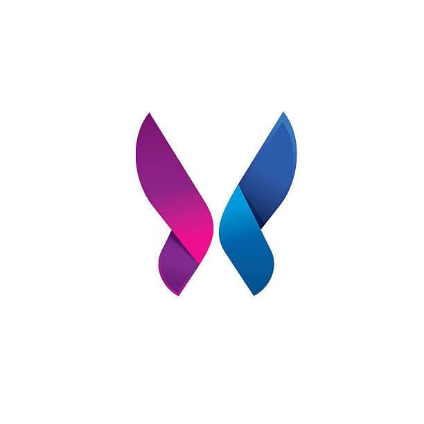 Purple butterfly logo modern beauty vector abstract brand vector art illustration
