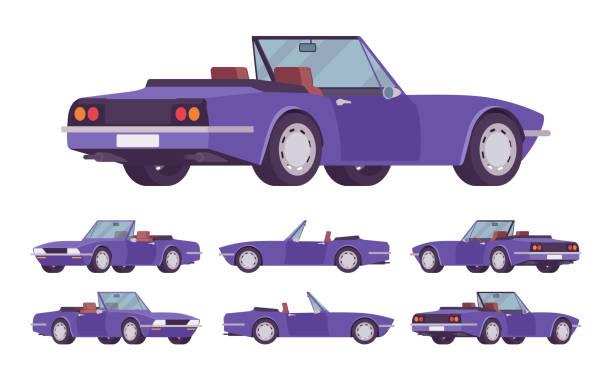 ilustrações de stock, clip art, desenhos animados e ícones de purple cabriolet car set - enjoying wealthy life