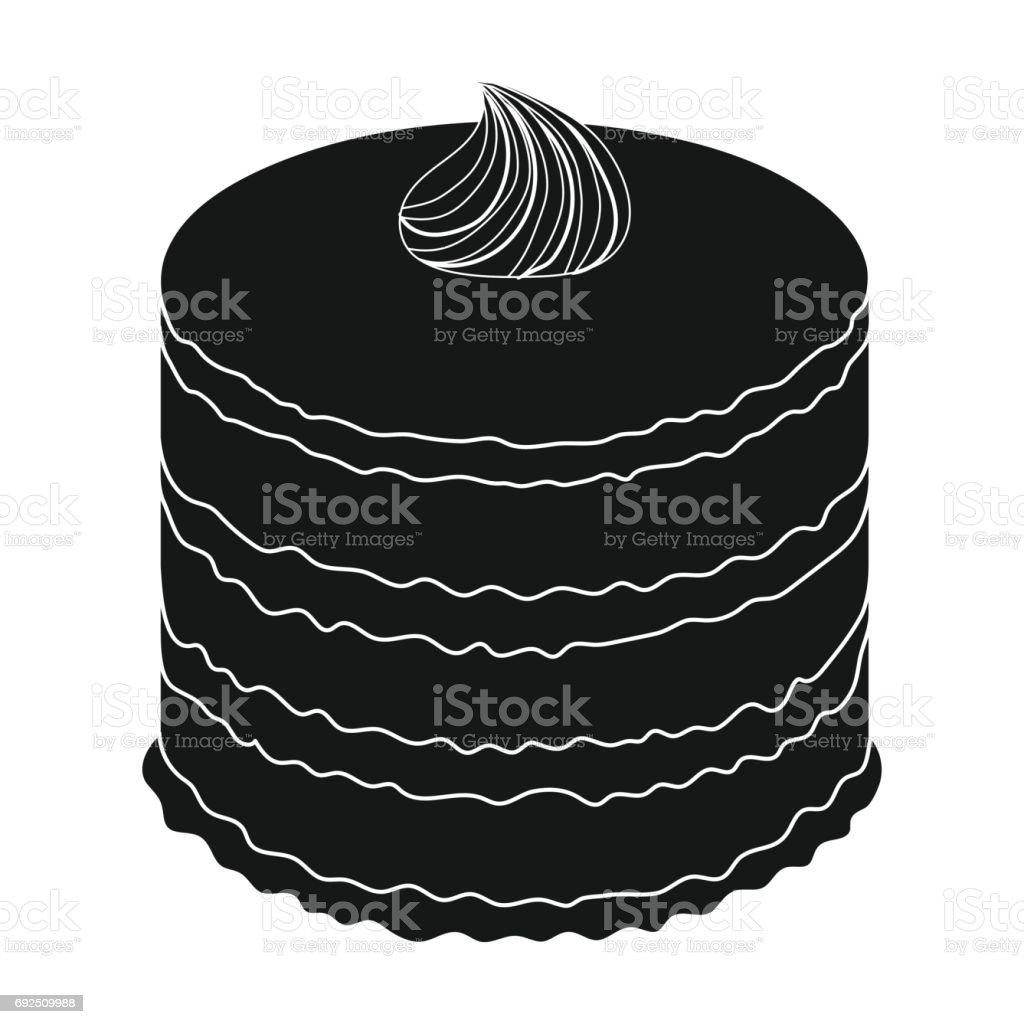 Lila Kuchen Symbol Im Schwarzen Stil Isoliert Auf Weissem Hintergrund