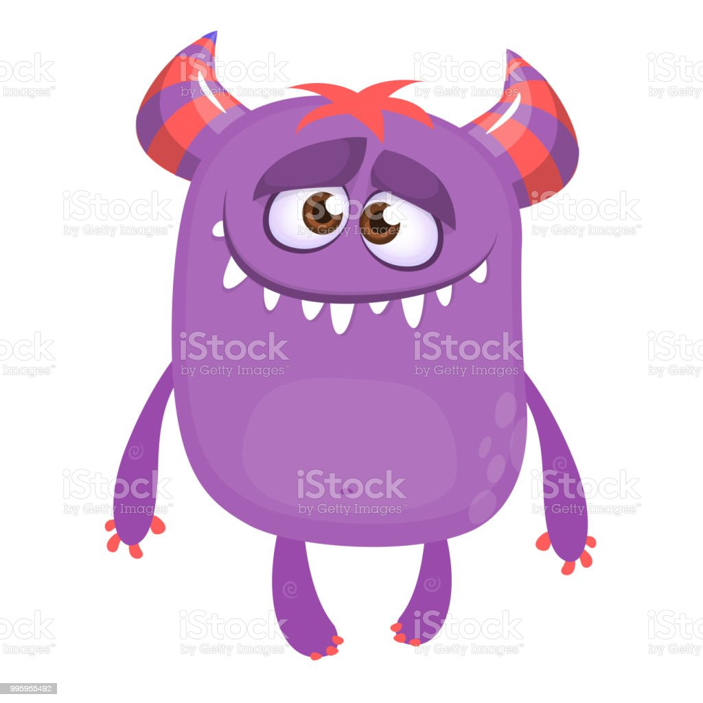 Purple Cartoon Monster With Horns Big Collection Of Cute Monsters Stock Illustration Download Image Now Istock