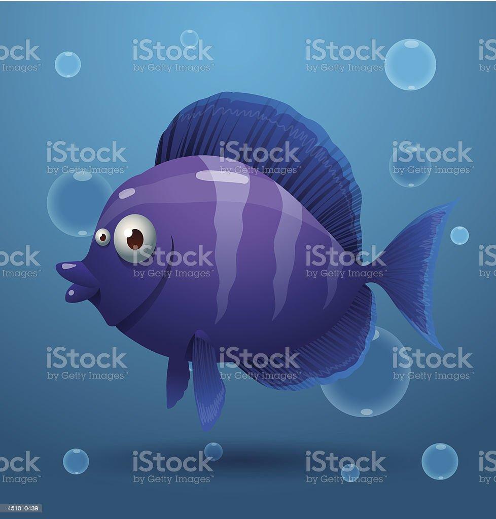 Purple cartoon tropical fish royalty-free stock vector art