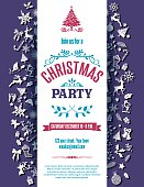 Purple Christmas Party Invitation Template. The text is centered on a white banner with retro holiday icons in flat design colors.